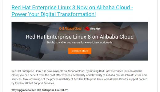 Alibaba Cloud でRed Hat Enterprise Linux を利用したい場合